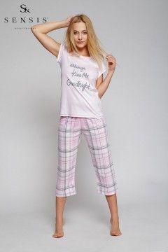 Piżama Kiss Me, krótki rękaw + spodnie do okolic kolan