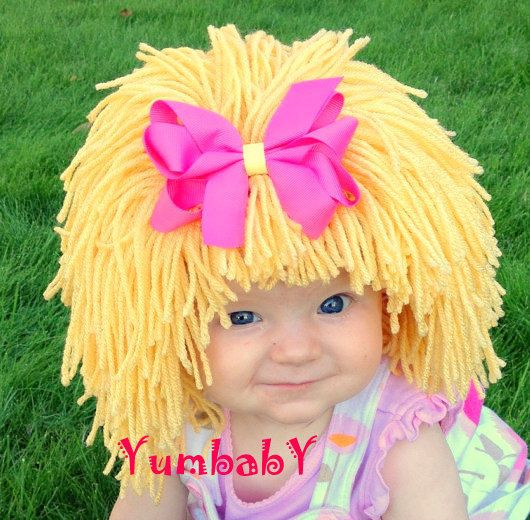 Kids Hat, Beanie Wig, Children, Toddler, Pageant Costume, Cabbage Patch Inspired, Photo Props baby Clothes. $34.95, via Etsy.