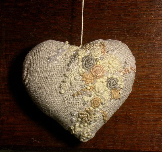 Hand embroidered heart Christmas ornament