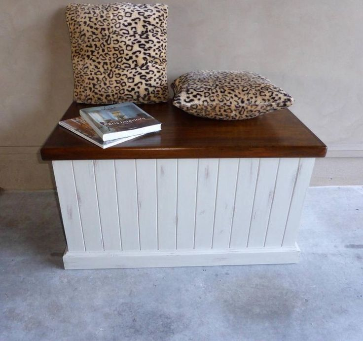 French Country Beach House Blanket Toy Box Storage Chest Trunk Window Seat