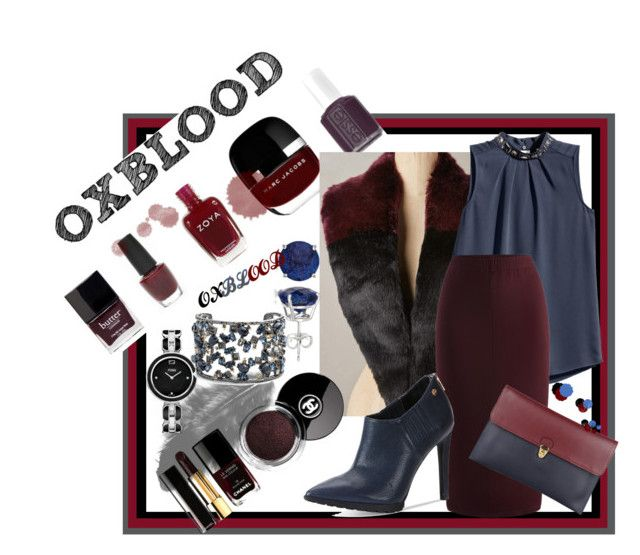 """Oxblood Blue"" by e-dphillips ❤ liked on Polyvore featuring H&M, Calvin Klein, 8, Chanel, Fendi, Alexis Bittar, Allurez and plus size clothing"