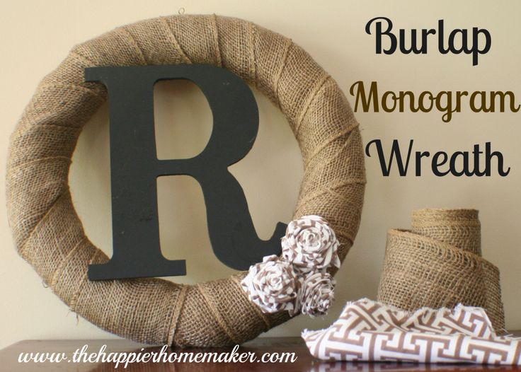 DIY Burlap Monogram Wreath with fabric rosettes from The Happier Homemaker