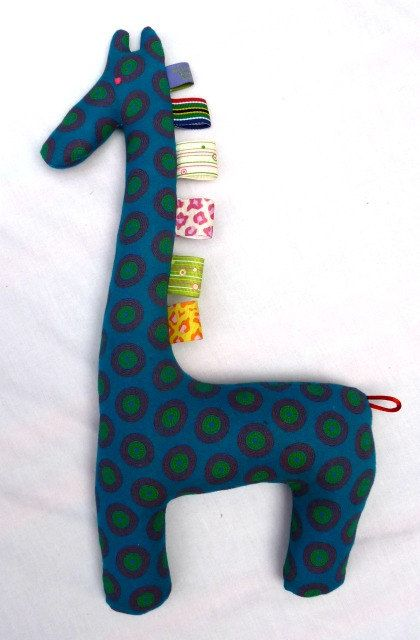 Blue and Red Fabric Giraffe  Teehing Toy  by MathildeAndCo on Etsy, £8.00