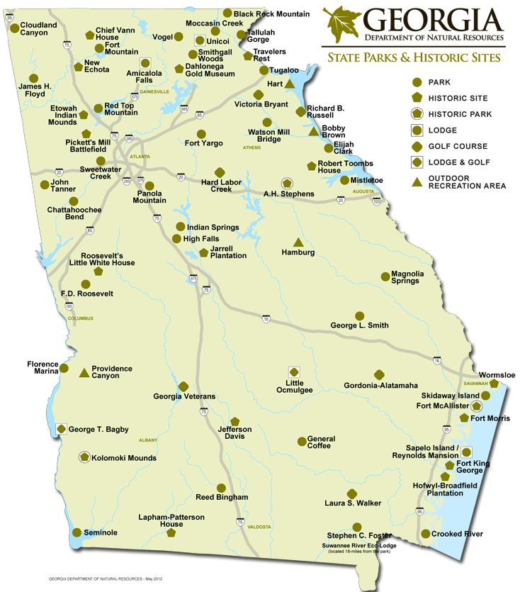 Georgia State Park Sites Map