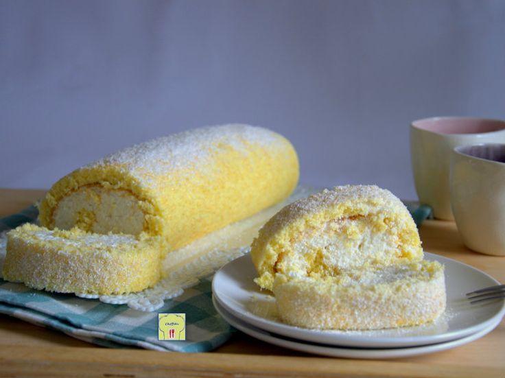 Rotolo al cocco, una ricetta facile e deliziosa: pasta biscotto al cocco farcita di delicata crema di cocco e mascarpone