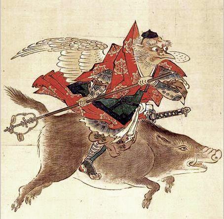 Karasu Tengu (Crow Tengu) riding boar / 烏天狗騎猪 by Kaihō Yūtoku, Sairin-ji Temple, Kyoto