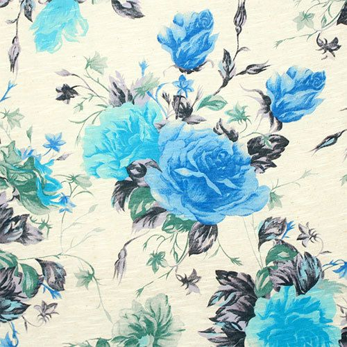 Lavender Blue Roses on Oatmeal Slub Cotton Jersey Blend Knit Fabric by annabannacrafts on Etsy