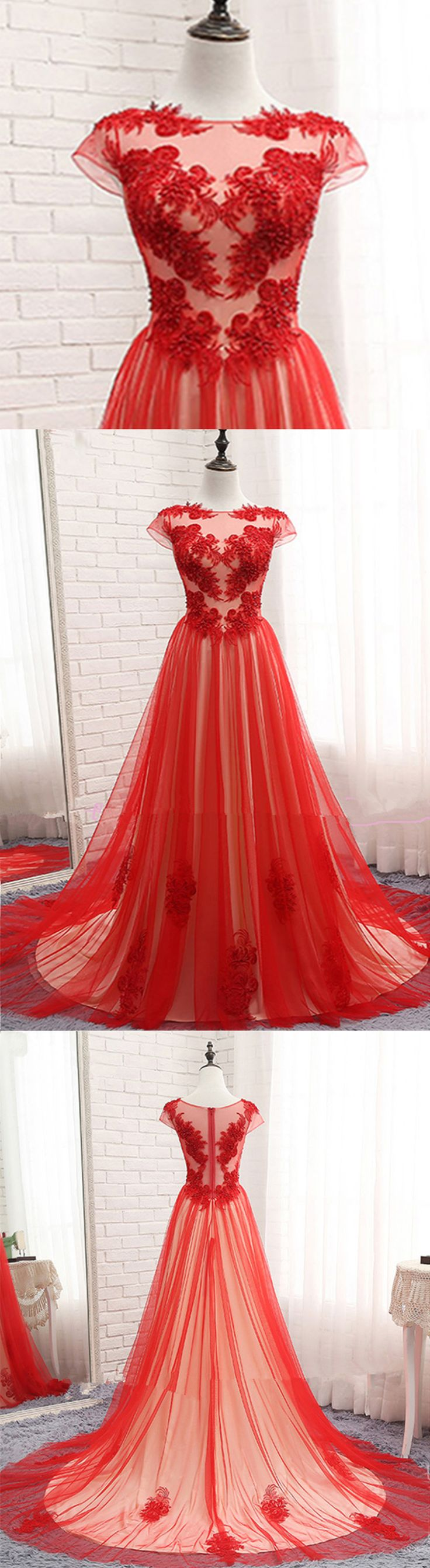 Modest Prom Dress, Red Tulle Prom Dress, Lace Appliqued Long Evening Gown for Teens #promdress #promdresses #prom #dress #gowns