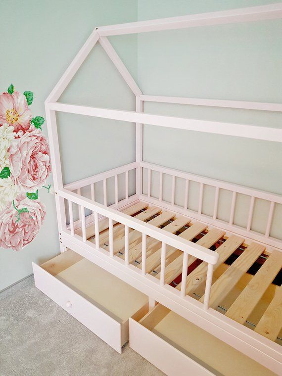 Crib Twin Full Montessori House Bed With Removable Railing