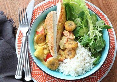 Kyckling med banan och curry