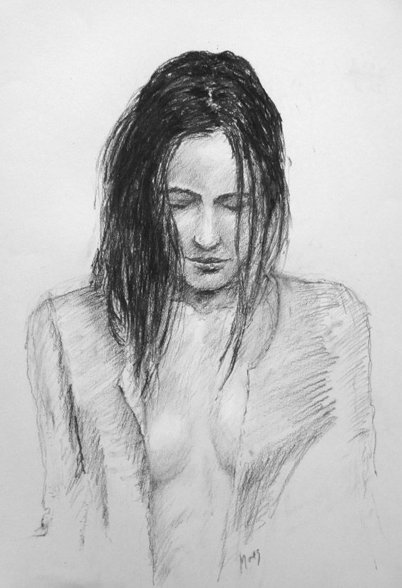 portrait drawing charcoal, Dutch artist Eduard Moes