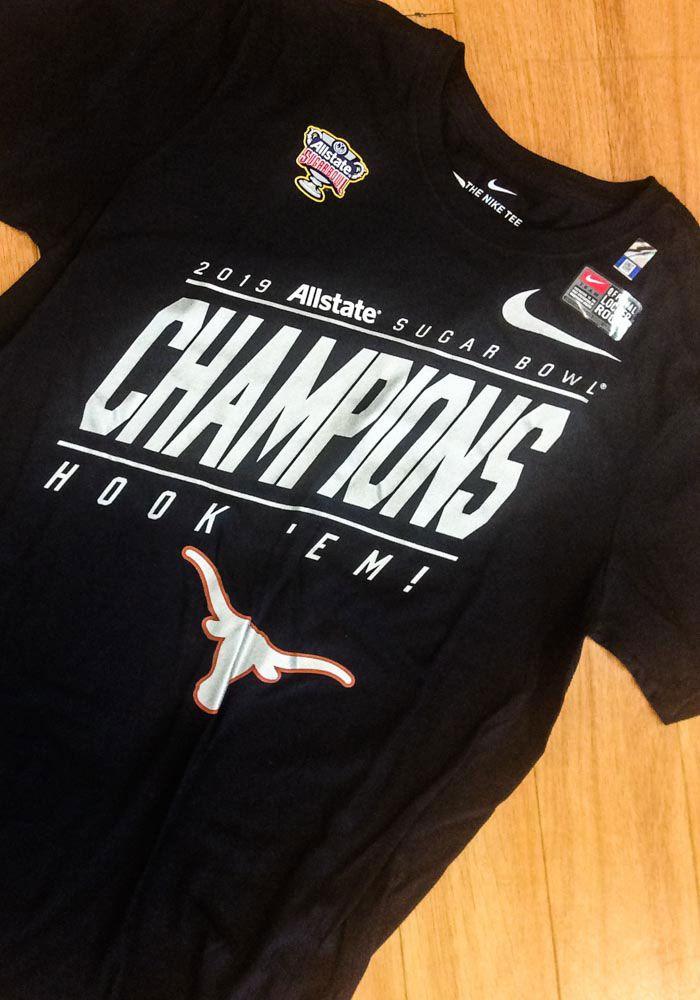 22d18b99 Nike Texas Longhorns Black 2019 Sugar Bowl Champions Short Sleeve T Shirt