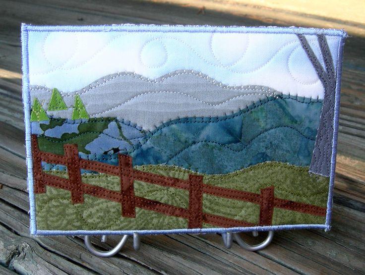 Fabric Postcard Art Quilt Fiber Art-Mountains Landscape-Fence-Pine ... : postcard quilts - Adamdwight.com