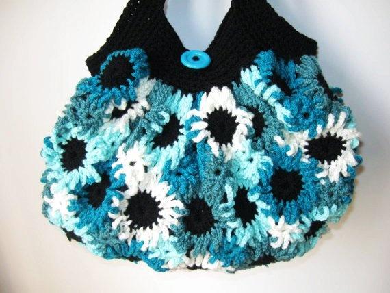 floral crochet purse