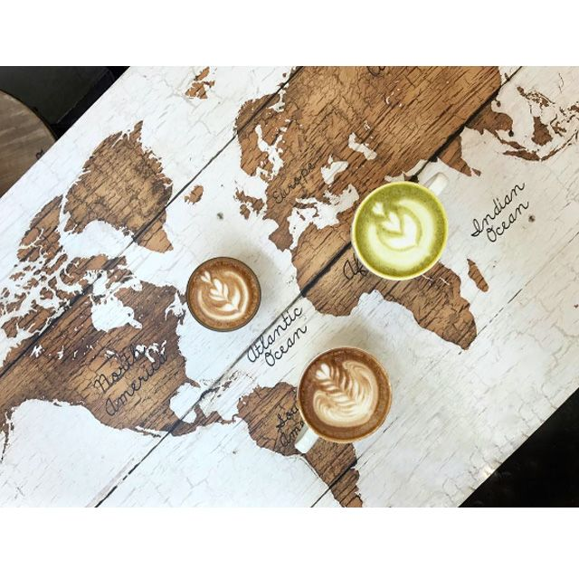 Coffee Table Café World Map Travel Inspiration Wanderlust Latte Furniture Design Tropical New York Wood Lazy Weekend Bikini Shop Instagram