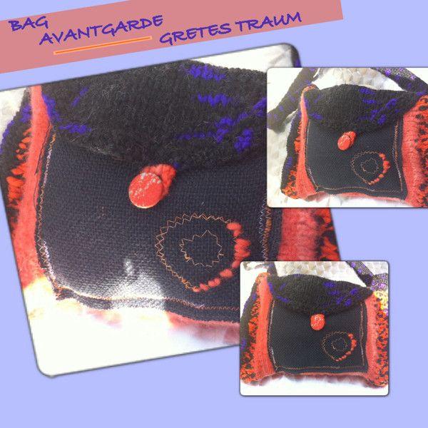 Handtasche - TASCHE, AVANTGARDE,orange,schwarz,70er,retro - ein Designerstück von GretesTraum bei DaWanda