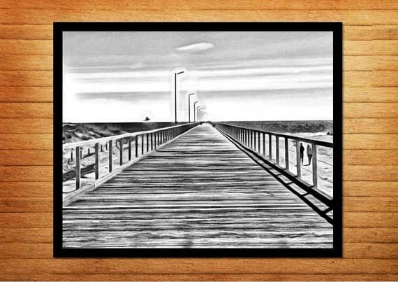 Black and white photography, instant download photography. Semaphore Beach, South Australia - Beach Jetty. Made by Gia, $10.00  #blackandwhitephotography #blackandwhitephotos #jetty #summerphotos #beachphotography #madebygia #made_by_gia #downloadable