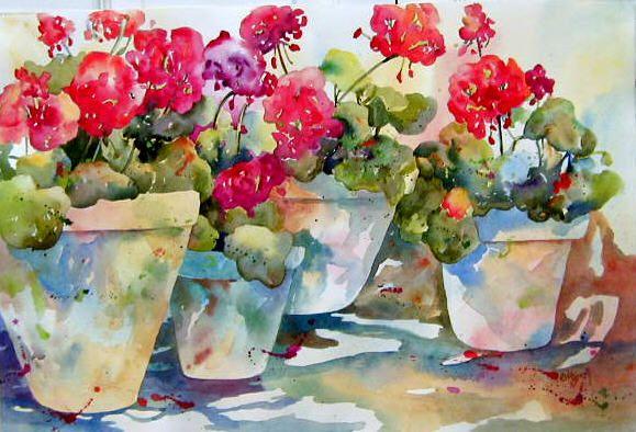 Watercolor Artists International - Contemporary Fine Art International: Geraniums Galorehttp://watercolorartistsinternational.blogspot.fi/2012/02/geraniums-galore.html