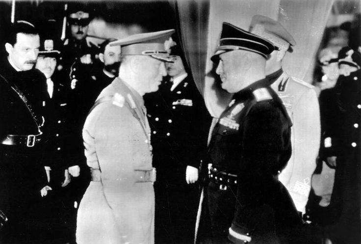 Benito Mussolini and Ion Antonescu, Rome, Italy, Nov 1940