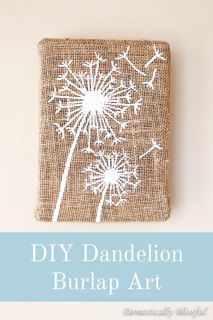 Create your own Dandelion Burlap Art for under $5.00 by recycling! http://domesticallyblissful.com/diy-dandelion-burlap-art/