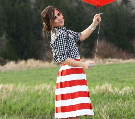 The Awning Skirt :: Red: Red Stripes, Mixed Patterns, Red White Blue, Stripes Skirts, Mixed Prints, Fashion Blog, 4Th Of July, Birthday Outfits, Patterns Mixed