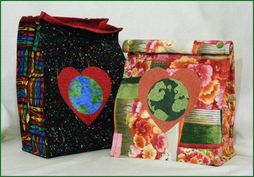 Loving Our Earth reusable lunch bag free pattern. http://www.victorianaquiltdesigns.com/VictorianaQuilters/PatternPage/LovingOurEarth/LovingOurEarthLunchBag.htm #reusablelunchbag #fabric #ecofriendly