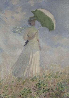 모네 - 야외에서 인물그리기 습작;  양산을 쓰고 오른쪽으로 몸을 돌린 여인