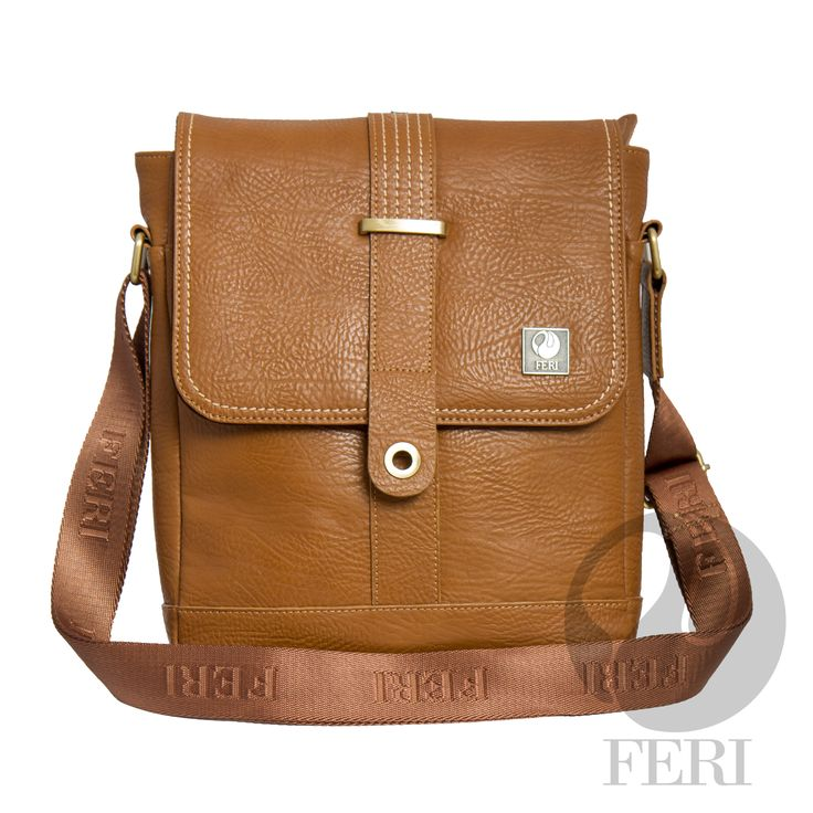 """Rinaldo Murse - Tan  C$903 http://bit.ly/1KvK0ZY - Camel color leather  - Customized FERI Lining - Adjustable nylon shoulder strap with FERI Embossed - Zip closure with flap and magnetic snap - Interior zip pocket - Tablet padding - Dimension: 12.99"""" x 10.24"""" x 3"""""""