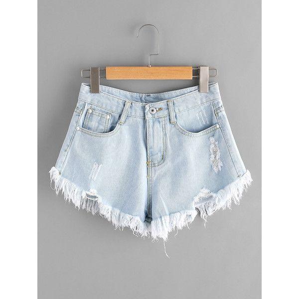 Bleach Wash Ripped Frayed Hem Denim Shorts ($9.99) ❤ liked on Polyvore featuring shorts, short jean shorts, destroyed shorts, torn shorts, ripped shorts and ripped jean shorts