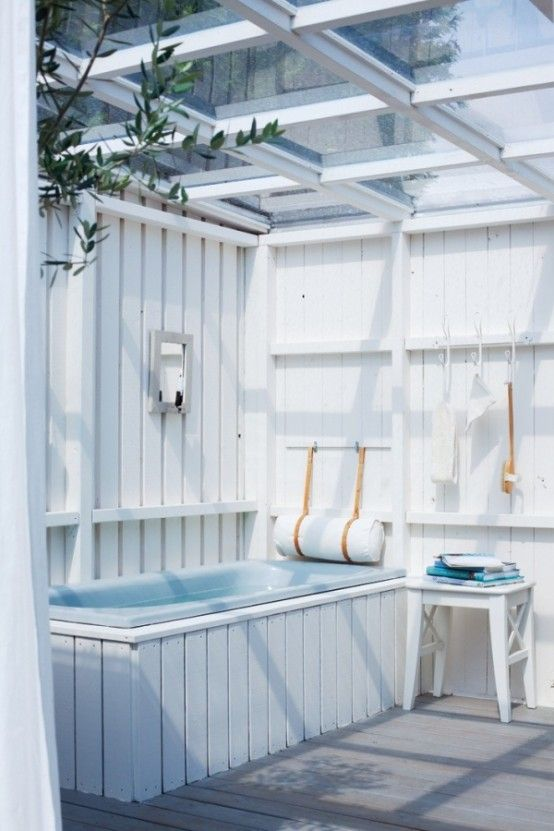 Inspiring 45 Outdoor Bathroom Designs That You Gonna Love With White Wall Bathtub Shower Towel Chair Glass