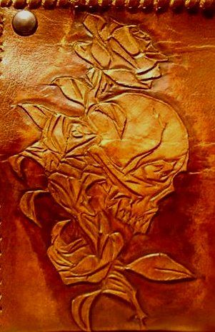 skull&rose engrave on leather