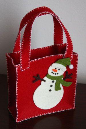 borsina portaregalo decorata con pupazzo di neve - snowman christmas bag