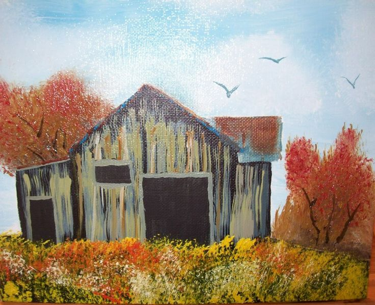 I tried to paint an old barn in a looser manner i wound for Watercolor barn paintings
