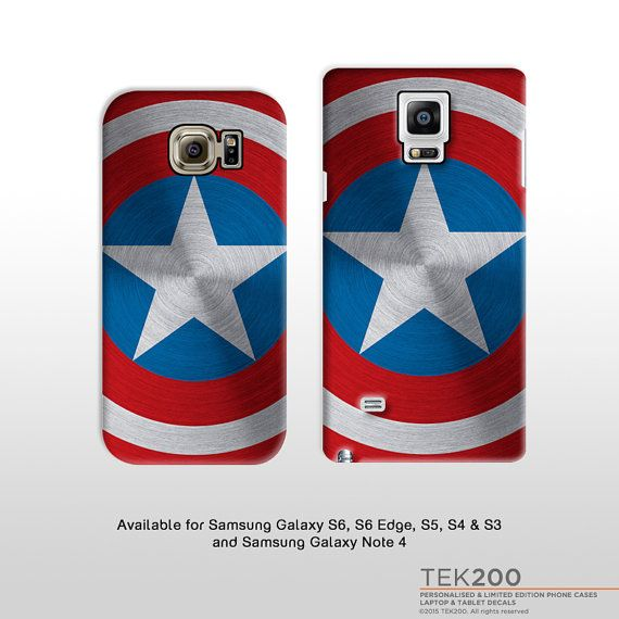 Samsung Galaxy S6 S7 Note 4 5 Captain America shield phone case. Avengers Marvel print hard case Samsung Galaxy S6 Edge S5 S4 S3 T301