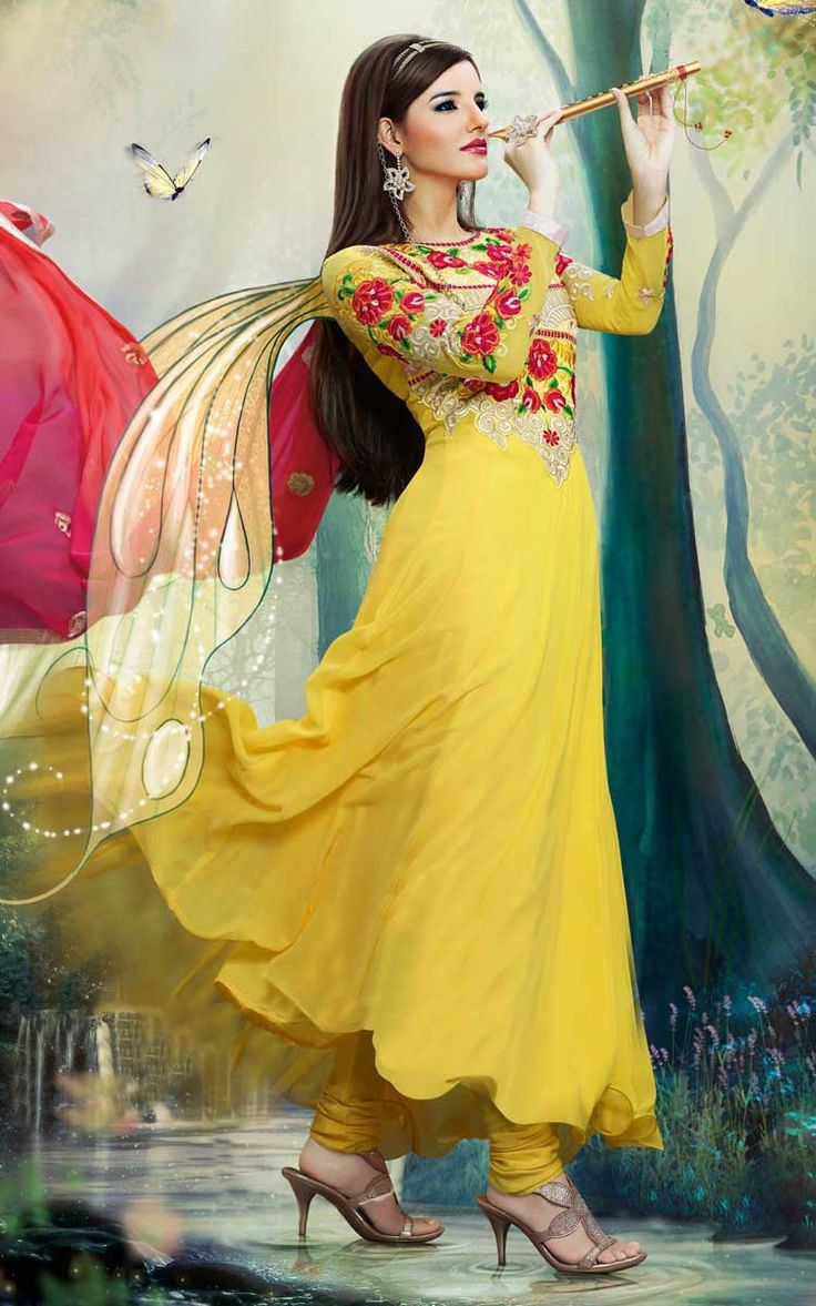 YELLOW GEORGETTE ANARKALI SALWAR KAMEEZ - DIF 30154