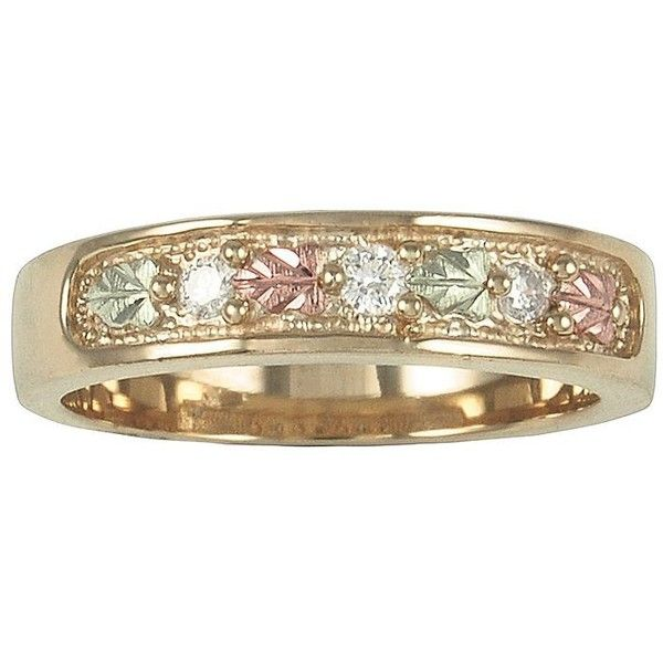 Womens Band Black Hills Gold Diamond Wedding Ring ($425) ❤ liked on Polyvore