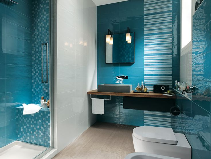 18 Lavish Bathroom Designs with Cool Tiled Walls : Modern Small Aqua Blue and White Tiles Wall Bathroom Design with Cloistered Shower Area and Beige Ceramic Tiles Flooring also Unique Grey Rectangular Sink