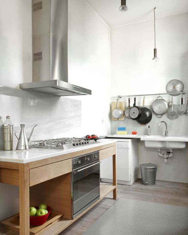 Home Design, Kitchen Design With Chimney And Appliances: Contemporary Home New  York Style Loft With Old Architecture