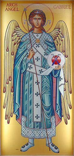 Archangel Gabriel icon, at Saint Gabriel the Archangel Roman Catholic Church, in Saint Louis, Missouri, USA