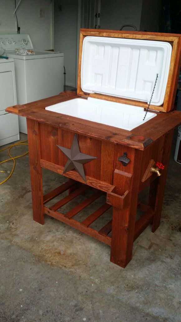 Rustic Ice Chest Cooler 48 Quart Hielera For Sale In Balch Springs Tx Wooden Cooler Wooden Ice Chest Patio Cooler