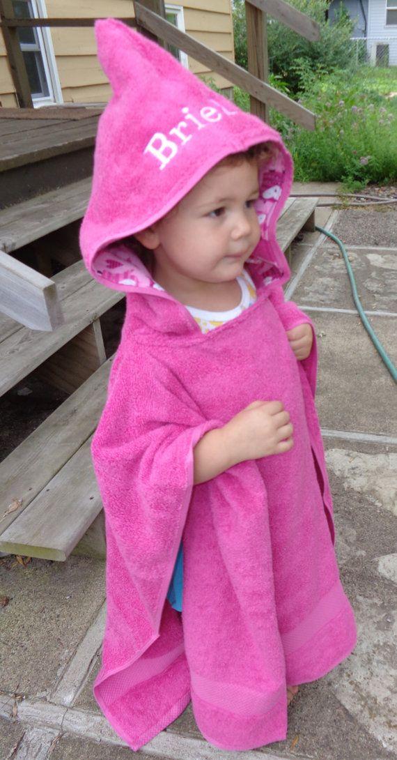 Girls hooded poncho in pink, personalized kids beach towel, hooded bath towel via Etsy