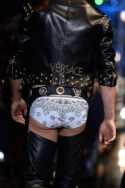 Most talked about exit of the week had to be the underwear-baring leather chaps at Versace's 'Bikers are the new Cowboys' collection, an imaginative way to showcase underwear that no one will forget in a hurry