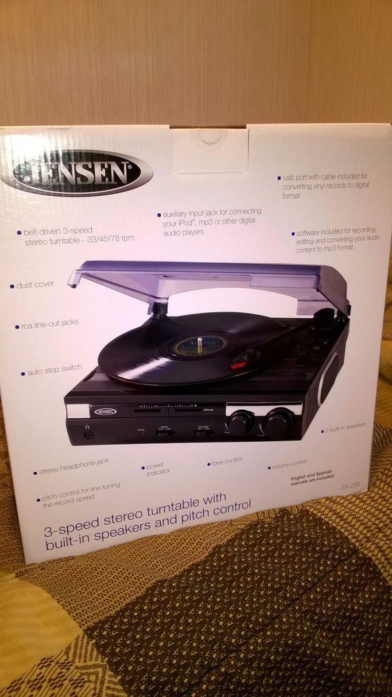 New Jensen 3 Speed Stereo Turntable W/ Speakers JTA 230 077283913006