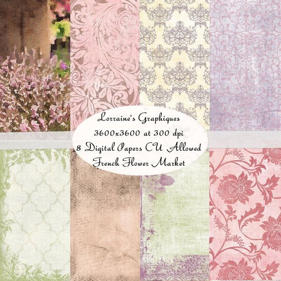 French Flower Market:  An French Inspired Watercolor Digital Paper Background Pack