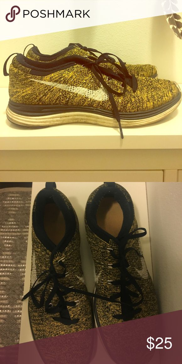 Nike lunar flyknit Size 9, so comfortable, yellow black combo Nike Shoes Athletic Shoes