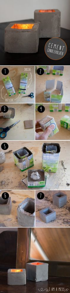 """cement candleholder DIY by """"I am a Mess"""""""