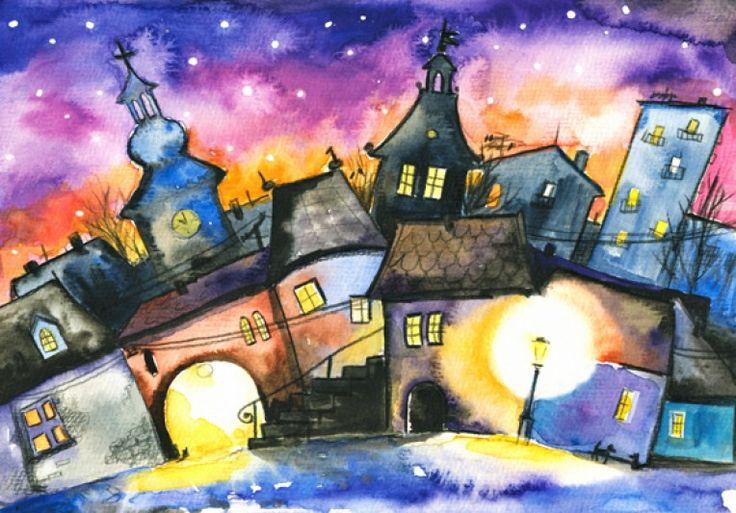 Картинки по запросу ночной город рисунок акварелью