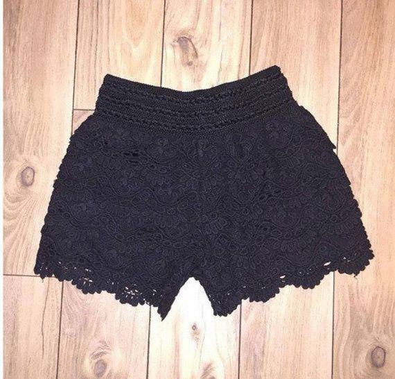 Shorts de ganchillo negro por LorenBleu en Etsy