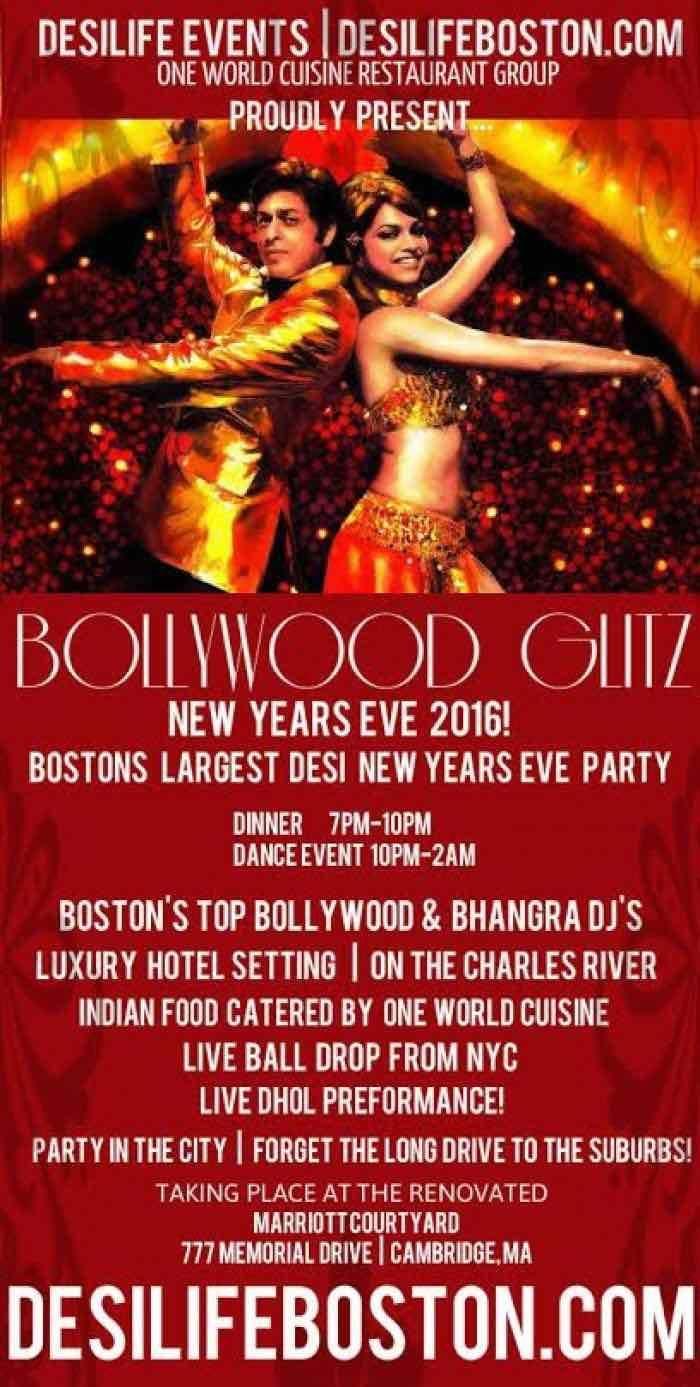Bollywood Glitz | Desi New Years Eve 2016 at Courtyard Marriot Camrbidge, 777 Memorial Dr, Cambridge, MA, Tickets, Indian Events Desi Events