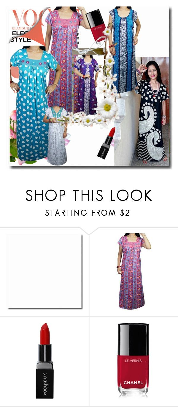 Women Sleepwear Nightgown by lavanyas-trendzs on Polyvore featuring Smashbox and Chanel   #nighty #maxi #nightgown #fancy #sleepwear #nightwear #summercollection #womennighty #sale #online